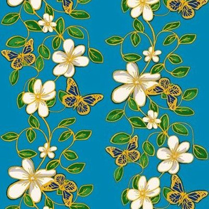 Gilded Flowers and Flutters / Vines & butterflies on blue