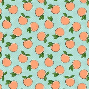 (small scale) peaches - polka dots on aqua C19BS
