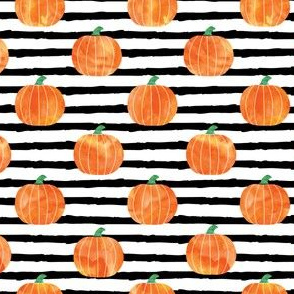 "(1"" scale) watercolor pumpkins on black stripes V2 C19BS"