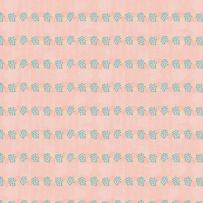 MINI Dotty Stripes in peach, yellow and teal.