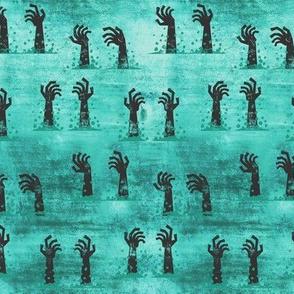 Zombie hands - halloween - teal - LAD19