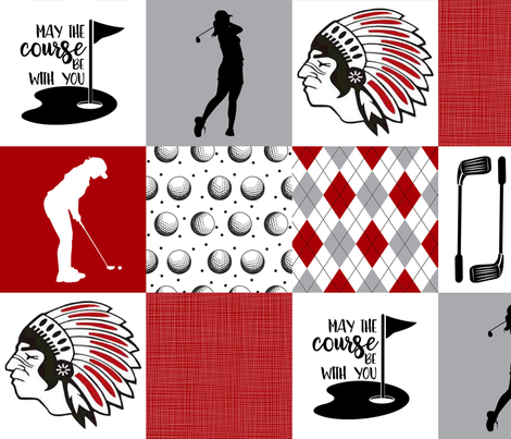 Golf//Chickasaws//Womens - Wholecloth Cheater Quilt fabric by longdogcustomdesigns on Spoonflower - custom fabric