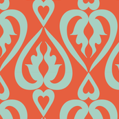 ethnic hearts - coral and mint