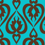ethnic hearts - teal and brown