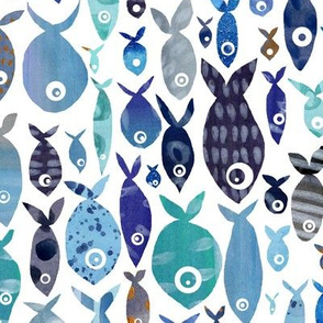 Blue watercolourfish - larger scale - rotated