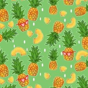 Summer Pineapples on Green