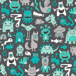 Monsters in Green Mint on Dark Grey