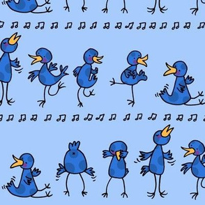 Birds learning to dance -blue