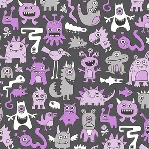 Monsters in Purple Lilac on Dark Grey