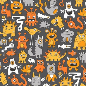 Monsters in Orange on Dark Grey