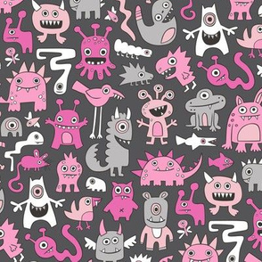 Monsters in Pink on Dark Grey