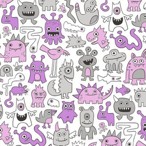 Monsters in Purple Lilac on White
