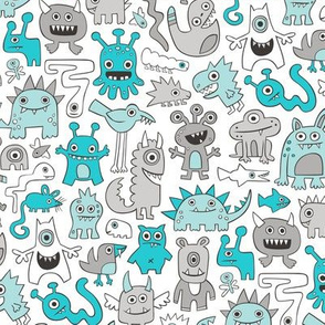 Monsters in Aqua Blue on White