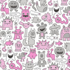 Monsters in Magenta Pink on White