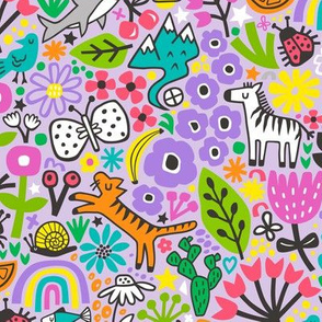 Floral Flowers & Animals Doodle on Purple