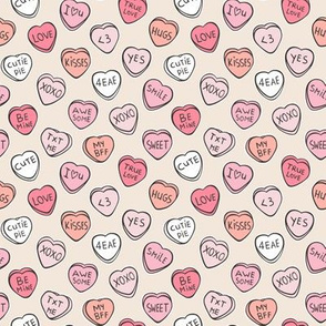 Conversation Candy Hearts Valentine Love Peach Pink Tiny Small