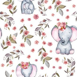 """7"""" Cute baby elephants and flowers, elephant fabric, elephant nursery"""