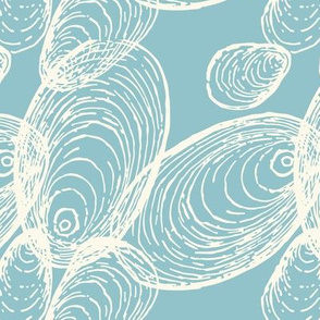 Shells Design in Coastal Blue and Cream