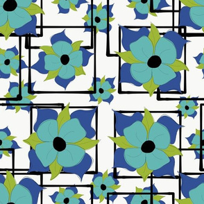 Blue Boxed Floral
