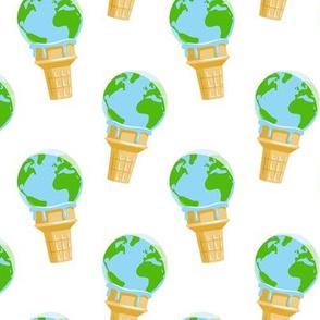 earth ice cream cone - white - LAD19
