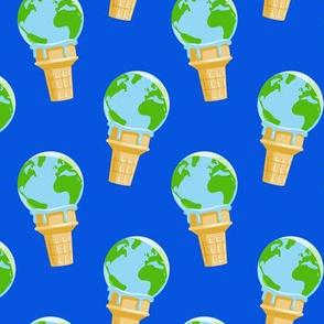 earth ice cream cone - blue - LAD19
