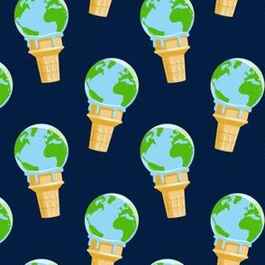 earth ice cream cone - navy - LAD19