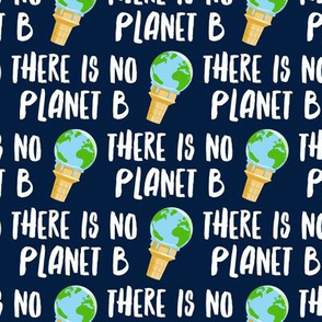 there is no planet b - earth ice cream cone - navy - LAD19