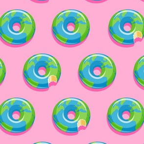 planet earth donuts - earth - pink - LAD19