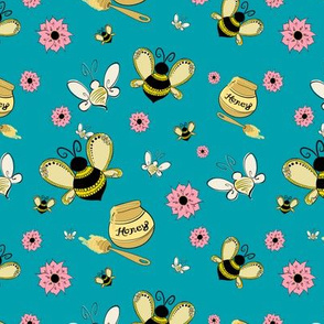 Bees & Honey Blue