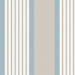 Ticking Triple Stripe in Blue and Brown