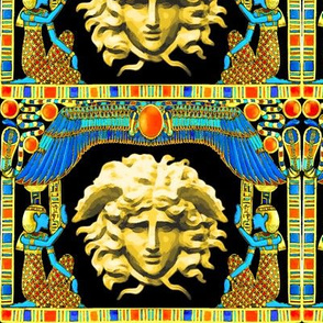 ancient egypt egyptian gold cobra snakes serpent wings scarab beetles hieroglyphs sun medusa greek Greece mashup crossover versace inspired fusion