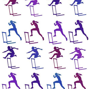 purple hurdles on white