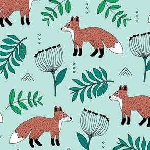 Cute brave little fox forest wild animals a flowers and leaves fall winter forest green mint
