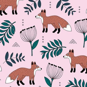 Cute brave little fox forest wild animals a flowers and leaves fall winter forest pink green