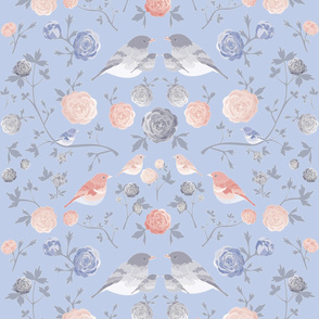 Floral birds with blush and dusty blue