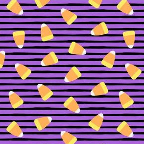 Candy corn - purple and black stripes - halloween candy - LAD19