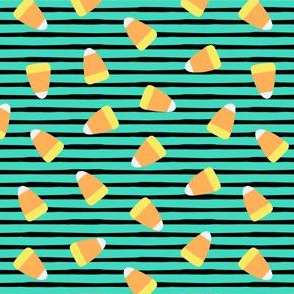 Candy corn - teal and black stripes - halloween candy - LAD19
