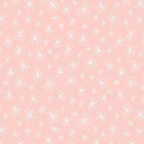Loopy Flowers - white on peach - small