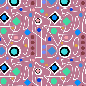 I Do Abstract - mushroom pink, inverse + white, continuous
