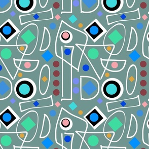 I Do Abstract - teal, inverse + white, continuous
