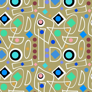 I Do Abstract - olive, inverse + white, continuous