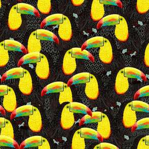 "Toucans Flock (tribal black) 18"""