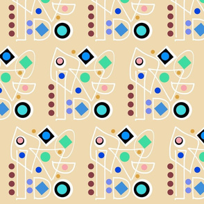 I Do Abstract - sandy beige, inverse + white, half brick