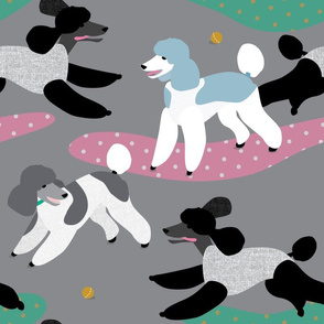Poodles in the Park (grey) by Mount Vic and Me