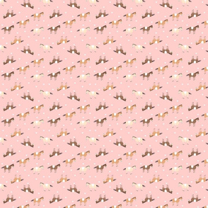 Horses on pink