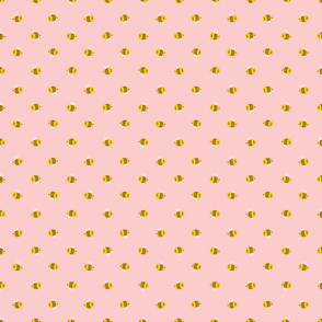 Cartoon bees on pink