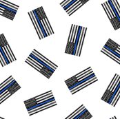 (extra small) Thin Blue Line - Back the Blue - American Flag - toss white - LAD19