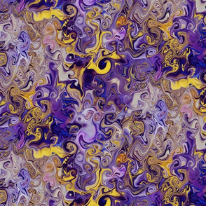 Abstract swirls in purple and yellow