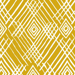 tribal white stripes mustard