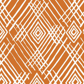 tribal white stripes rust